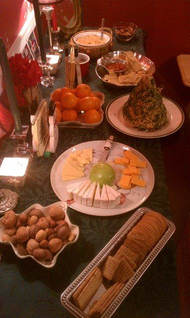 christmas eve pre dinner snacks including massive cheese spread tree from my dad - Christmas Eve Snacks