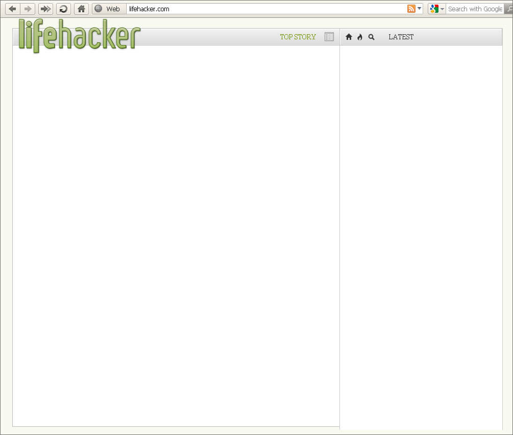 Lifehacker.com home page with JavaScript disabled