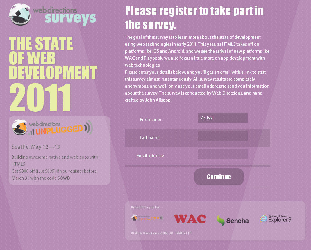 Screen capture of Webdirections survey site in Chrome, showing a series of nice CSS3 features.