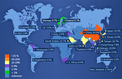 Map of IE6 usage around the world.