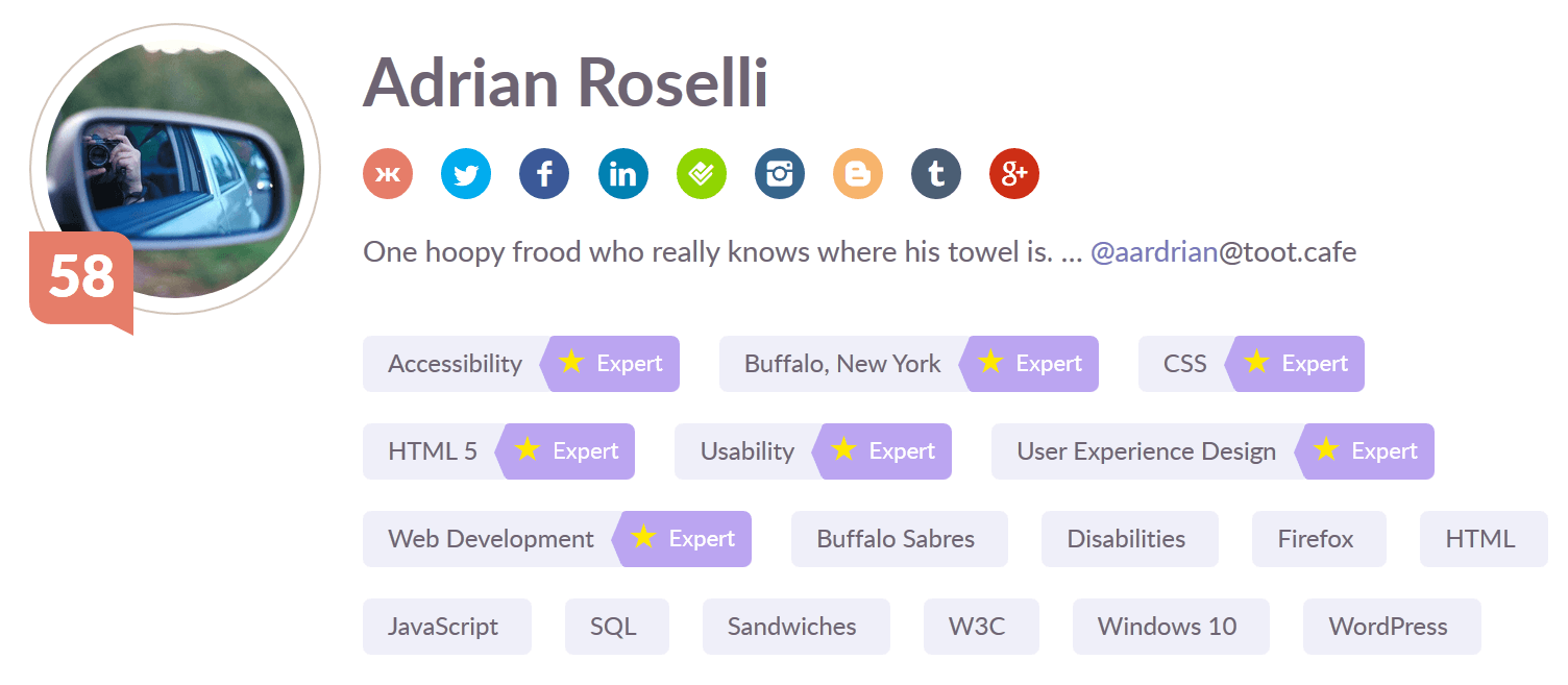 Screen shot of my Klout profile page.
