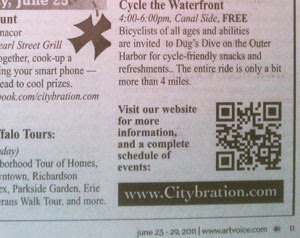 Image of a newspaper ad with a QR code.