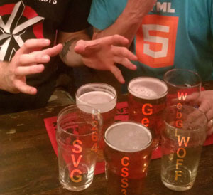 Beers with non-HTML5 technologies imprinted on them.