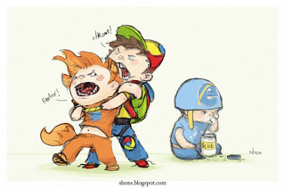 Image of two kids fighting (Chrome and Firefox) while one eats glue (Internet Explorer).