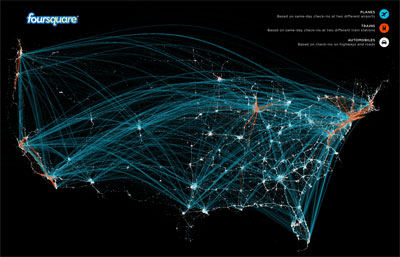 Planes, trains, and automobiles! An infographic of travels on foursquare.
