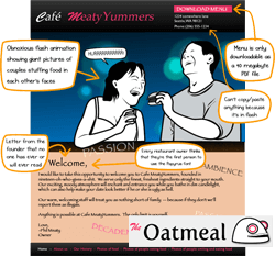 The Oatmeal comic describing what it wants from a restaurant web site.