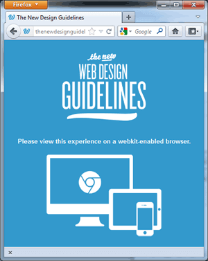 Screen capture of the site 'The New Design Guidelines' in Firefox 10.0.2.