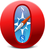 Opera logo merged with Safari logo.
