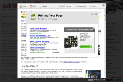 Screen shot of ads in the print dialog.