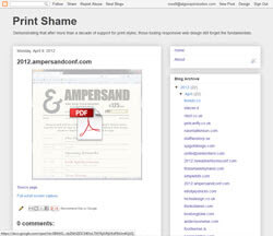 Screen shot of PrintShame.com