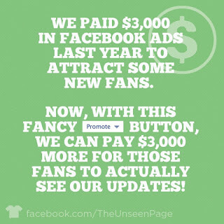 We paid $3,000 in Facebook ads last year to attract some new fans. Now, with this fancy [promote] button, we can pay $3,000 more for those fans to actually see our updates.