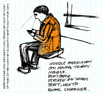 Illustration of mobile user sitting sideways on train seat next to power outlet.