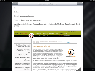 Screen shot of emailing a web page from Opera Coast.
