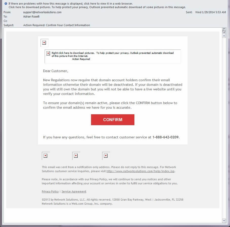 Screen shot of the offending email.