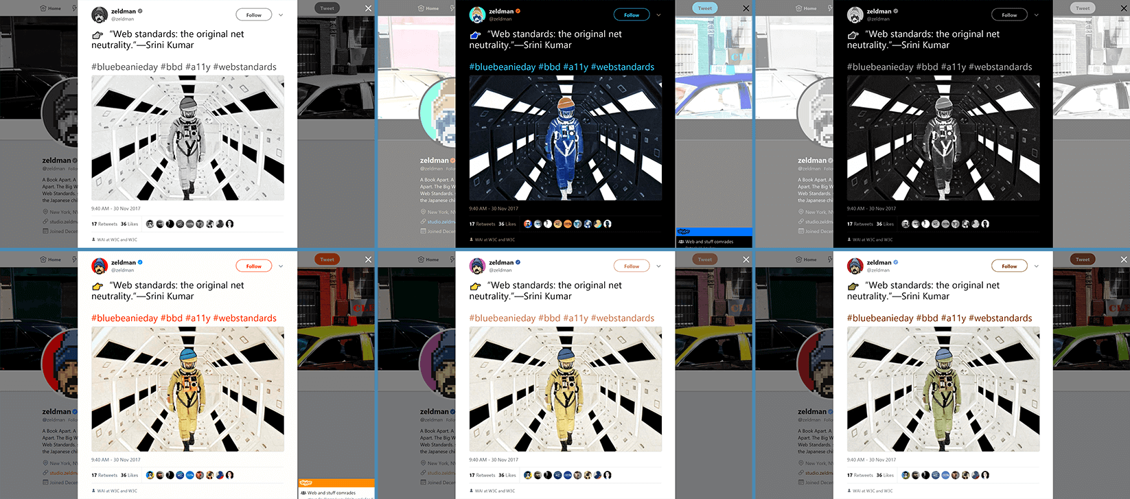Series of screen shots of Zeldman's Blue Beanie Day tweet as viewed through Windows 10 color accessibility filters.