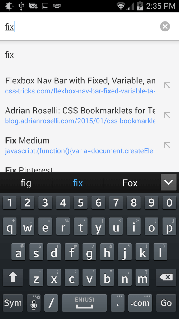 Typing the name of the bookmarklet into the address bar as it shows options from auto-complete.