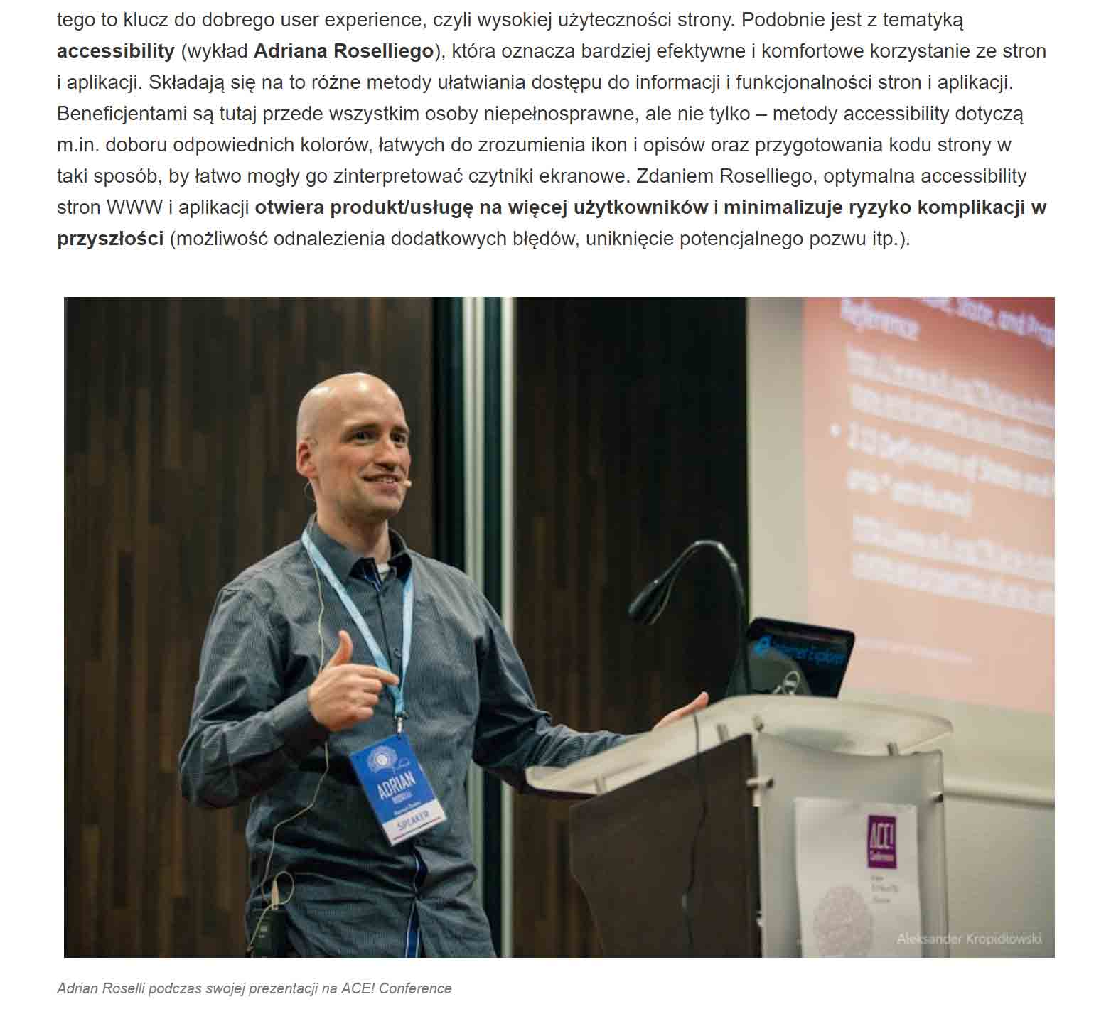Screen shot of a paragraph of text and a photo of me from the  Polish Agency for Enterprise Development covering ACE! Conference 2015.