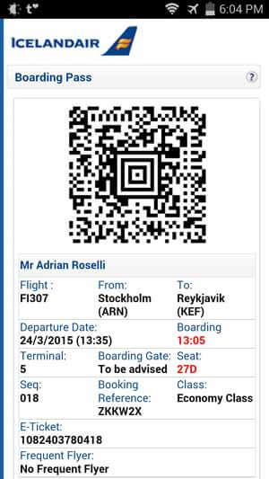 Iceland Air electronic boarding pass.
