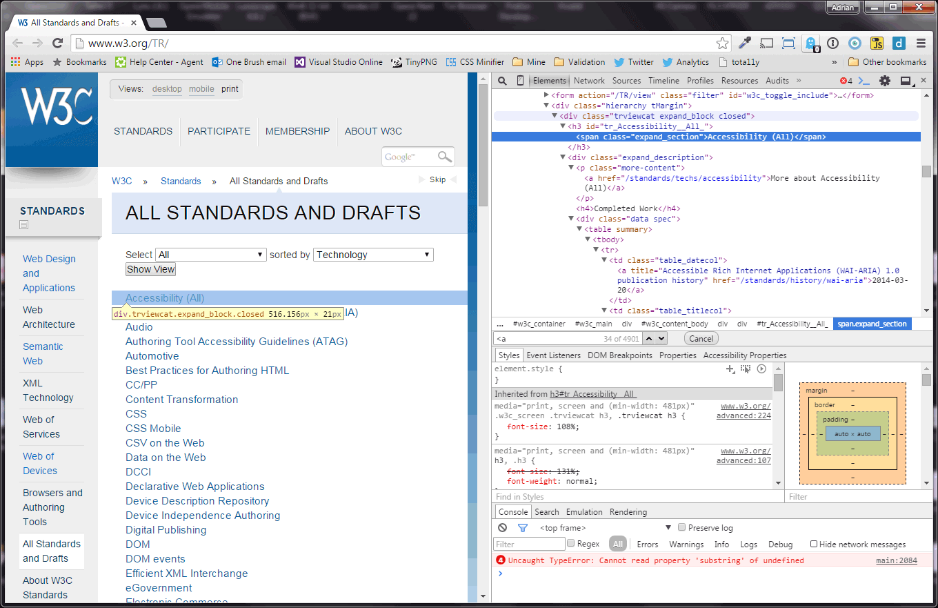Screen shot of W3C site with the developer tools showing a script error.