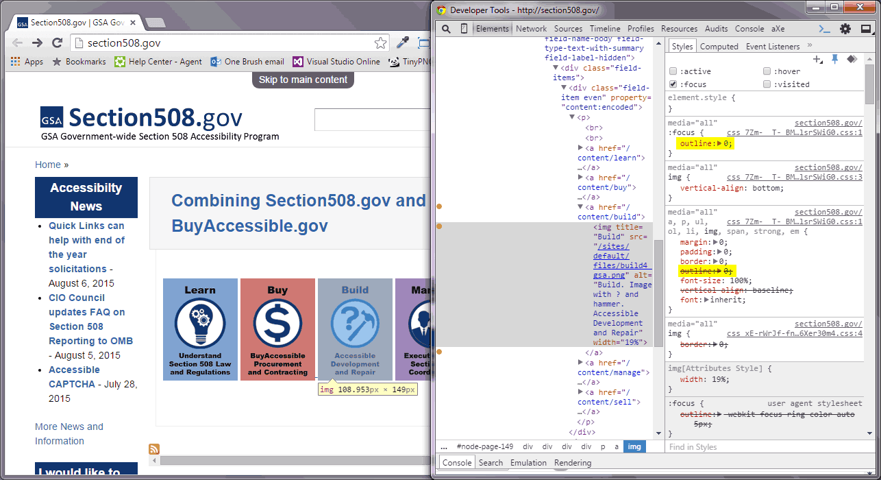 Screen shot of Section508.gov with Chrome developer tools highlighting outline styles.