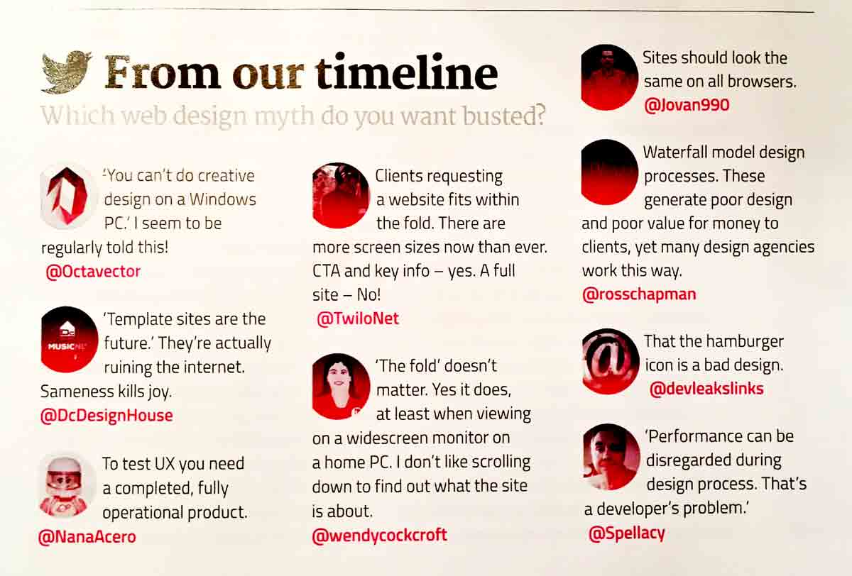 Printed list of web myths from Twiter; Net Magazine, Issue 274, December 2015