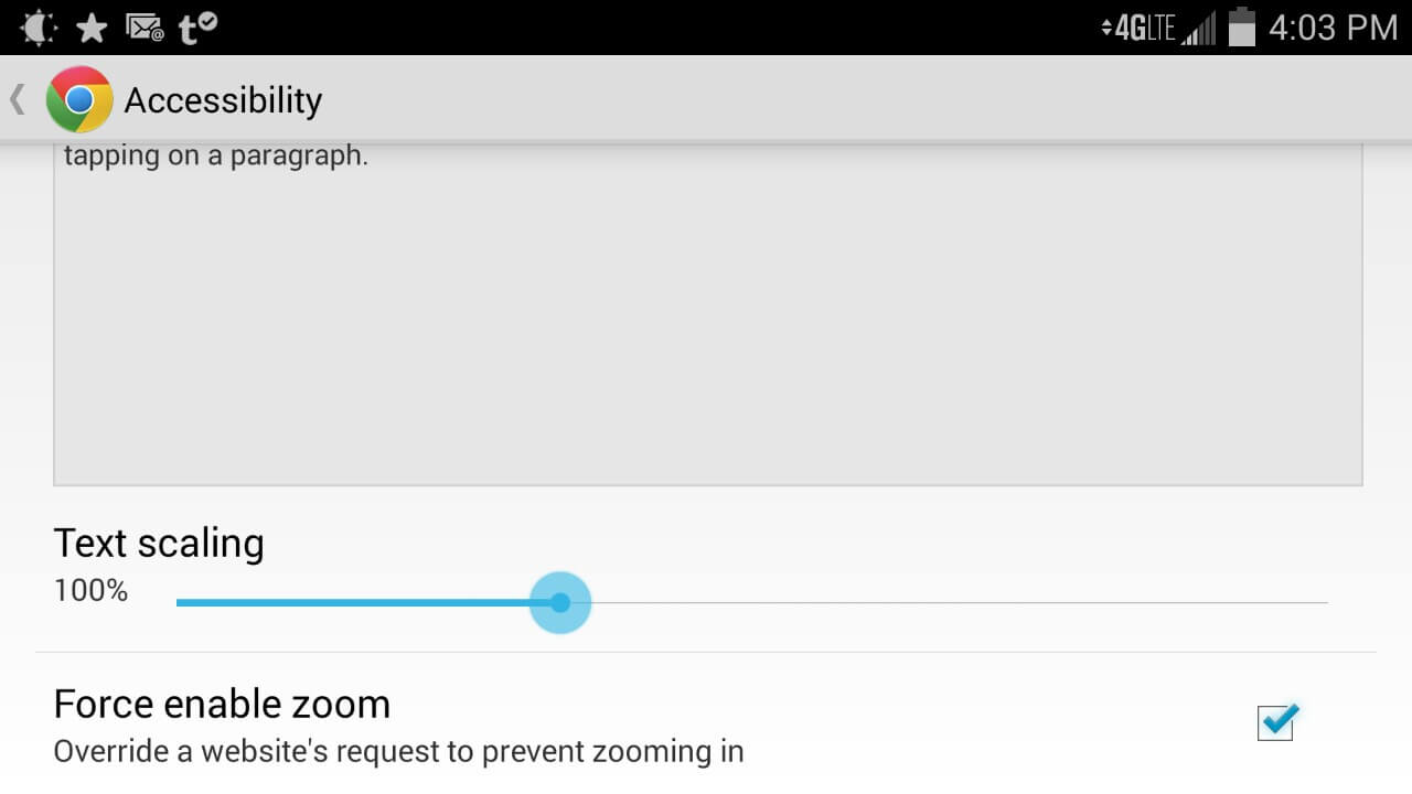Screen shot of Chrome for Android showing checkbox to override a site's zoom settings.