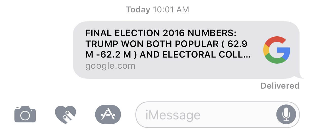 "A Google headline alert with the text ""Final election 2016 numbers: Trump won both popular (62.9M - 62.2M) and electoral coll…""."