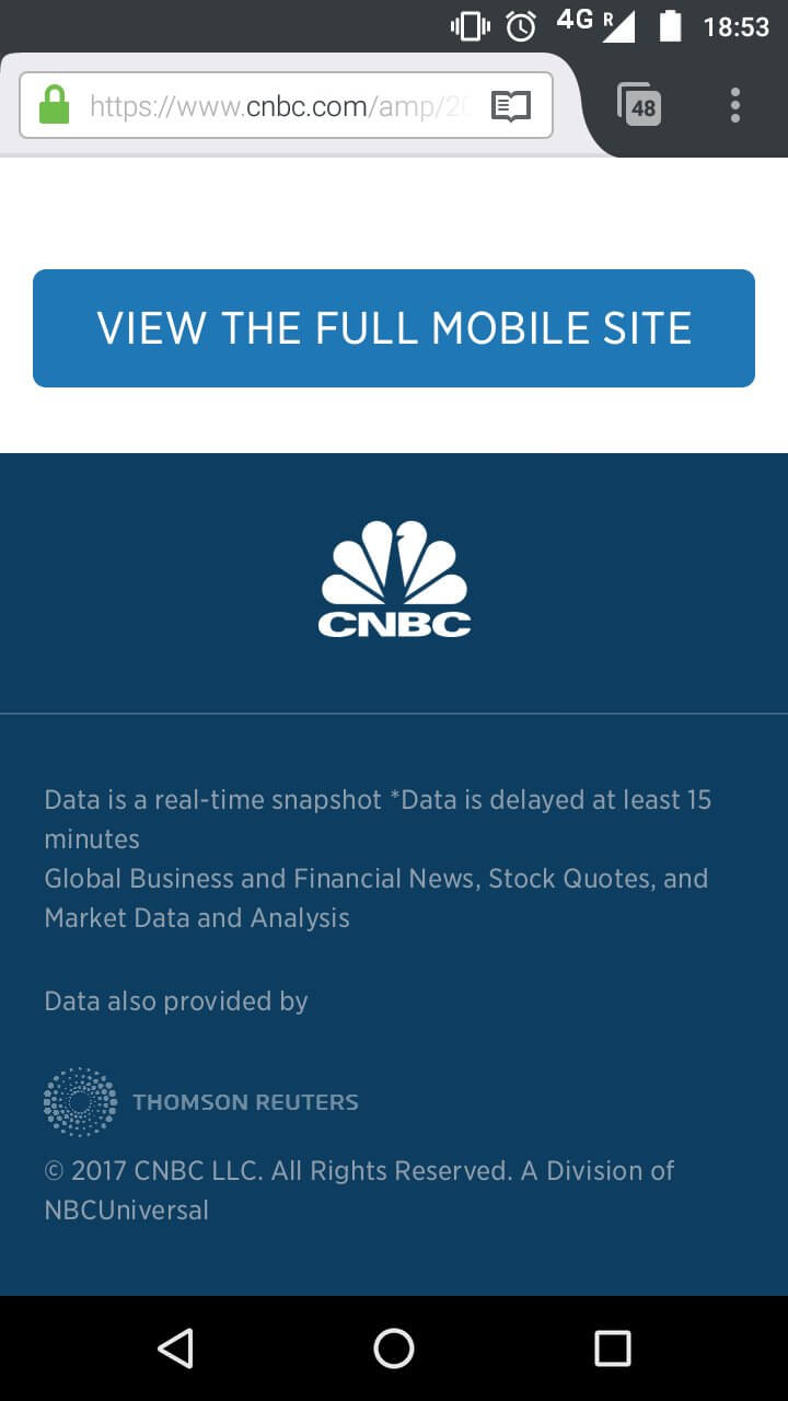 "Screen shot of the CNBC mobile amp page showing the footer with a giant link at the bottom to ""View the full mobile site""."