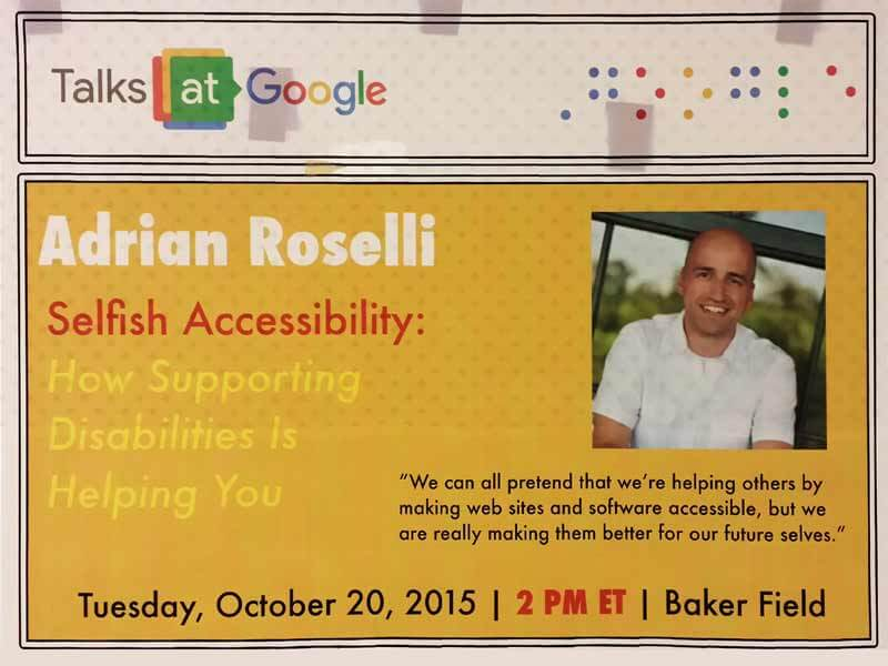 Poster I found on the wall at the Google offices promoting my talk.