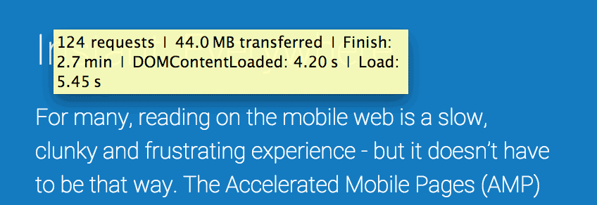 ampproject.org page load analysis: 124 requests; 44MB transferred; Finish: 2.7min; DOM Content Loaded: 4.2s; Load: 5.45s