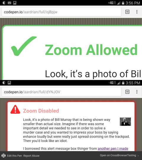 Don't Disable Zoom | Adrian Roselli