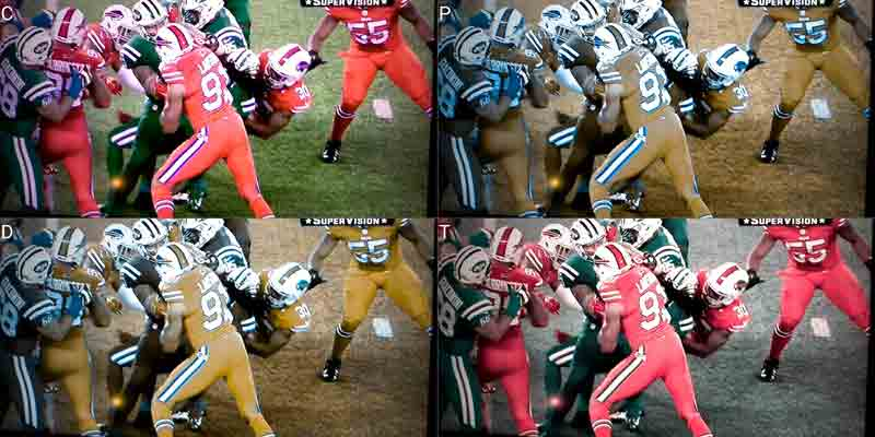 Bills/Jets game, red & green uniforms as seen with  multiple forms of colorblindness.