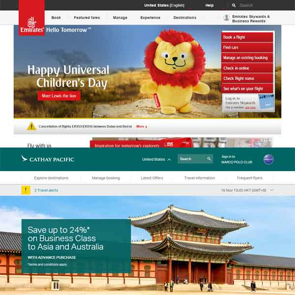 Emirates and Cathay Pacific web site home pages.