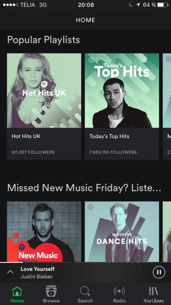 Screen shot of the Spotify mobile app with a menu bar at the bottom instead of a hamburger.