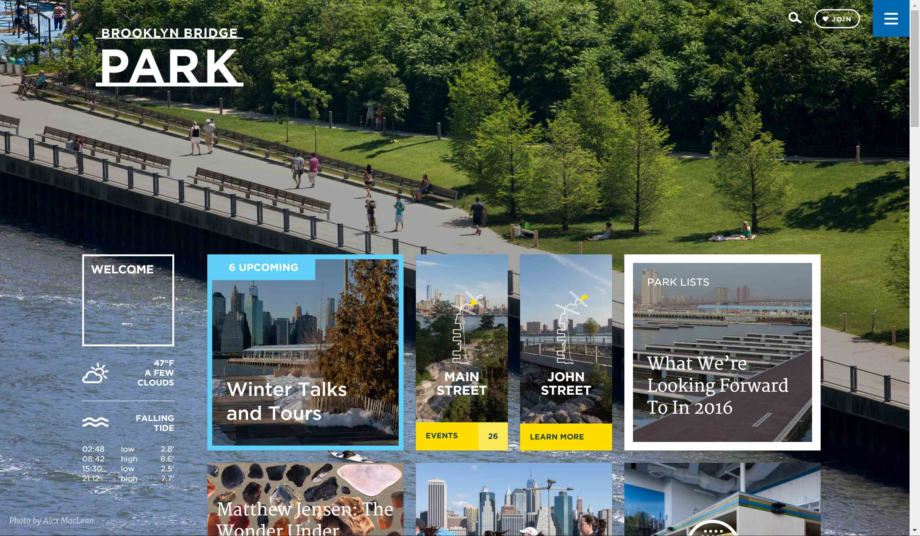 Brooklyn Bridge Park home page.