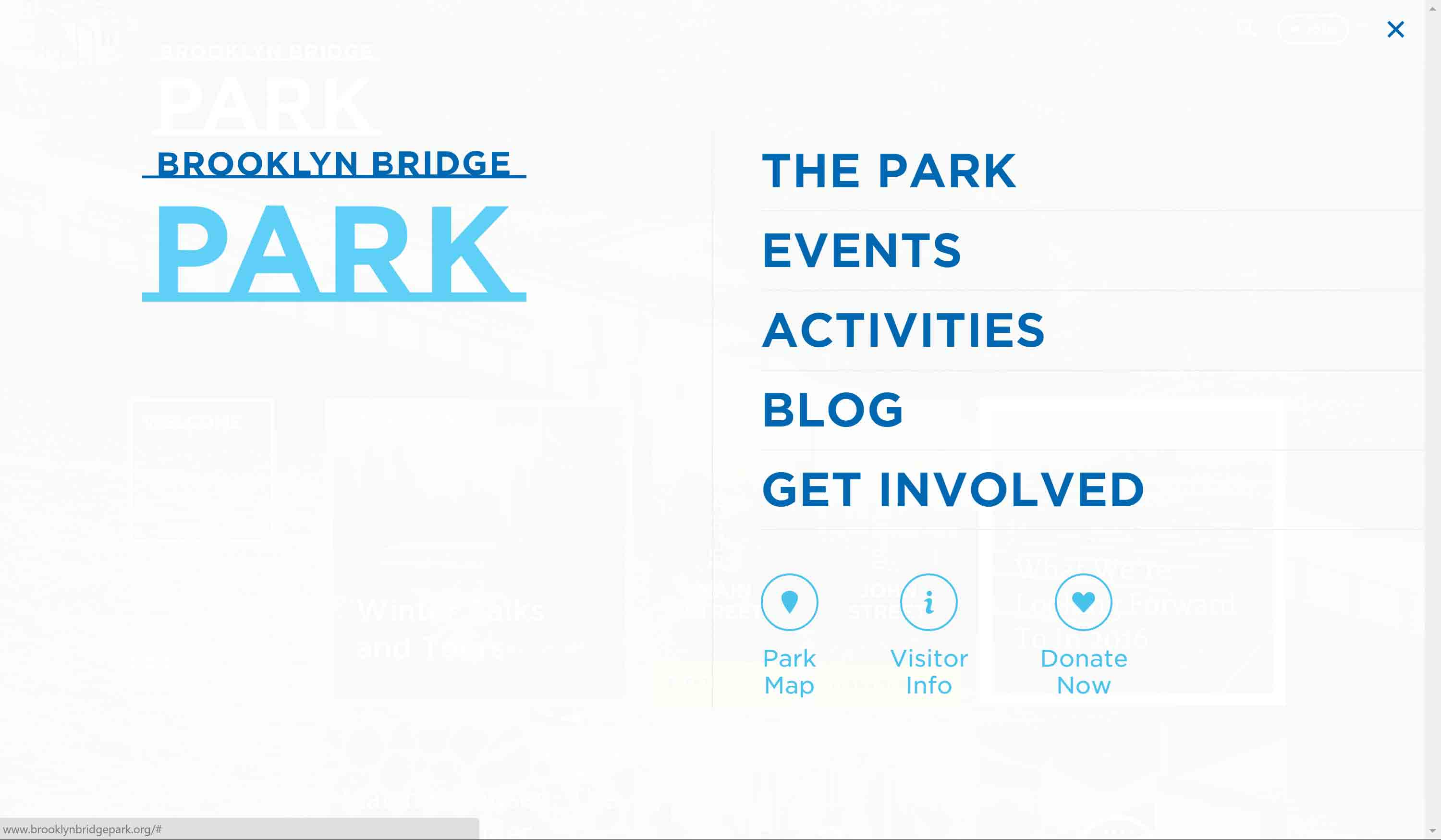 Brooklyn Bridge Park home page with menu open.
