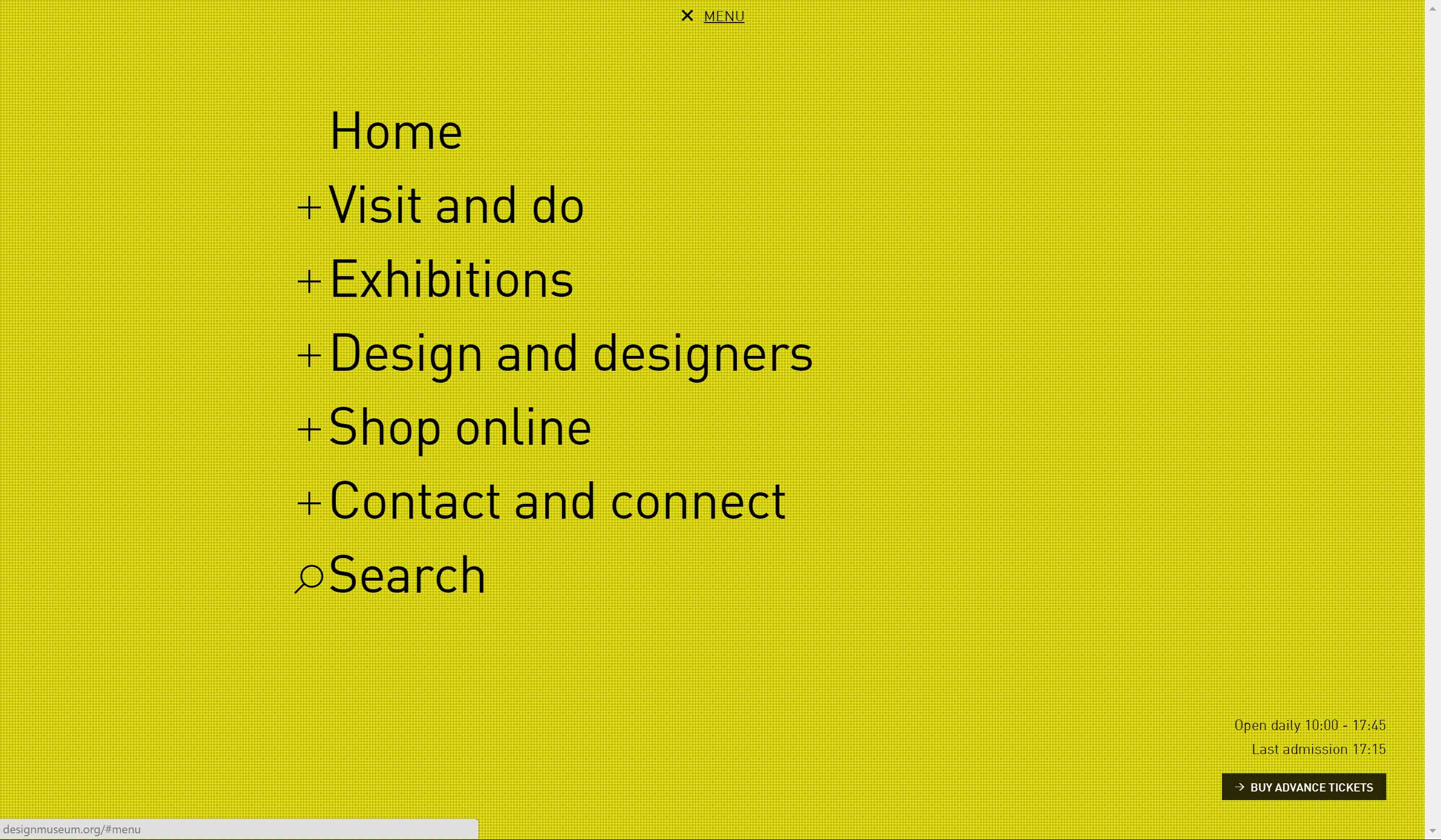 Design Museum home page with menu open.
