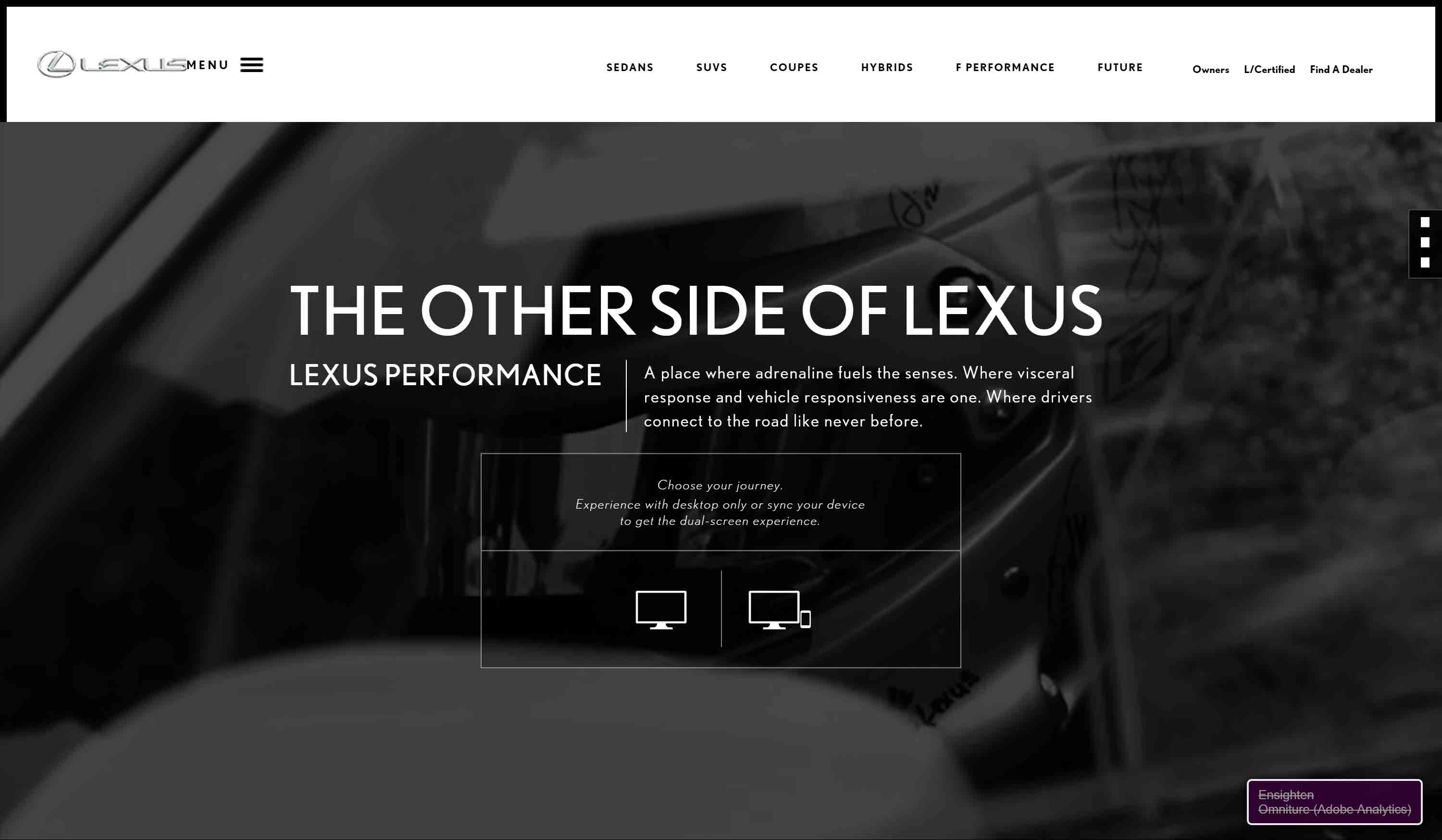 Lexus Performance site home page during flash of menu at load.