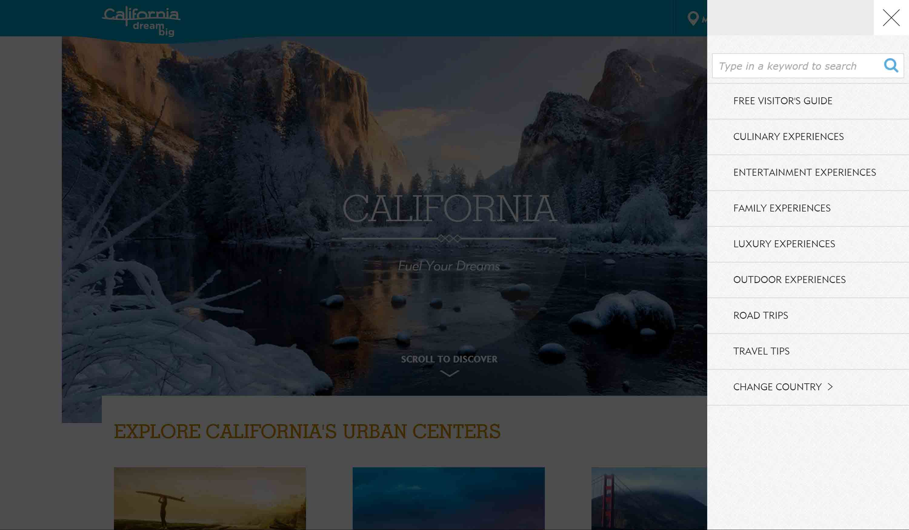 Visit California home page with  menu open.
