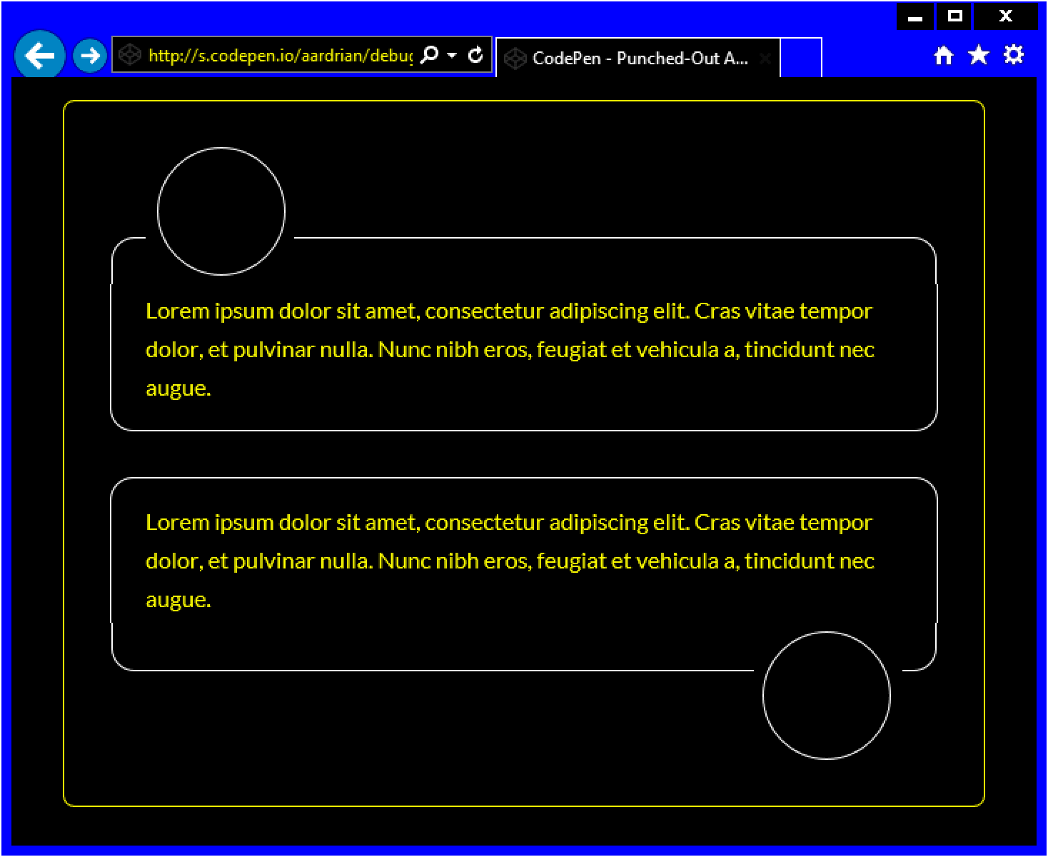 Screen shot of two variations on the punch out avatar example as seen in IE11 using Windows High Contrast Mode.