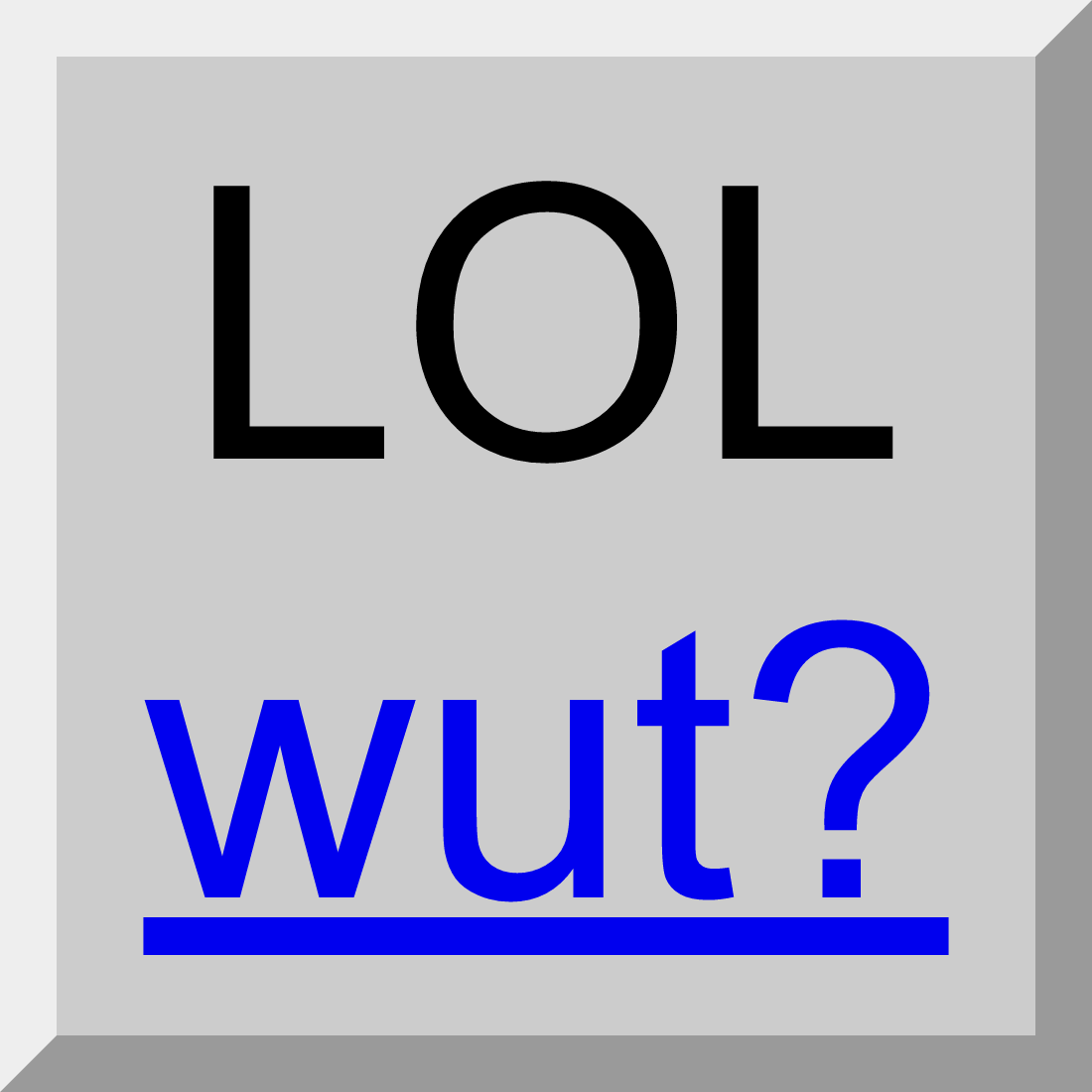 "Screen capture of a button element with a hyperlink nested inside. Button text is ""LOL"" and link text is ""wut?"""