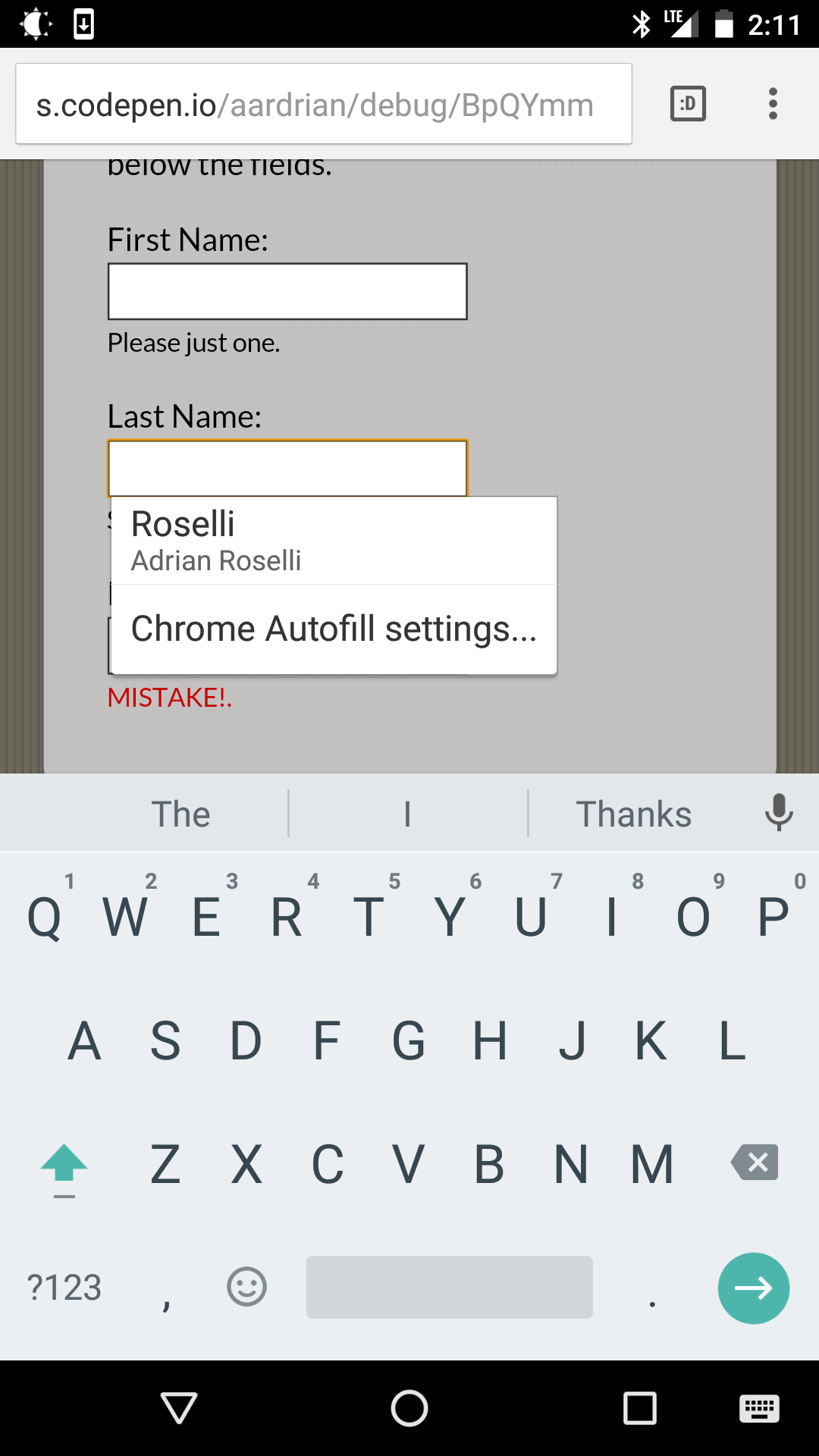 Screen shot from Chrome on Android showing auto-complete on the second field.