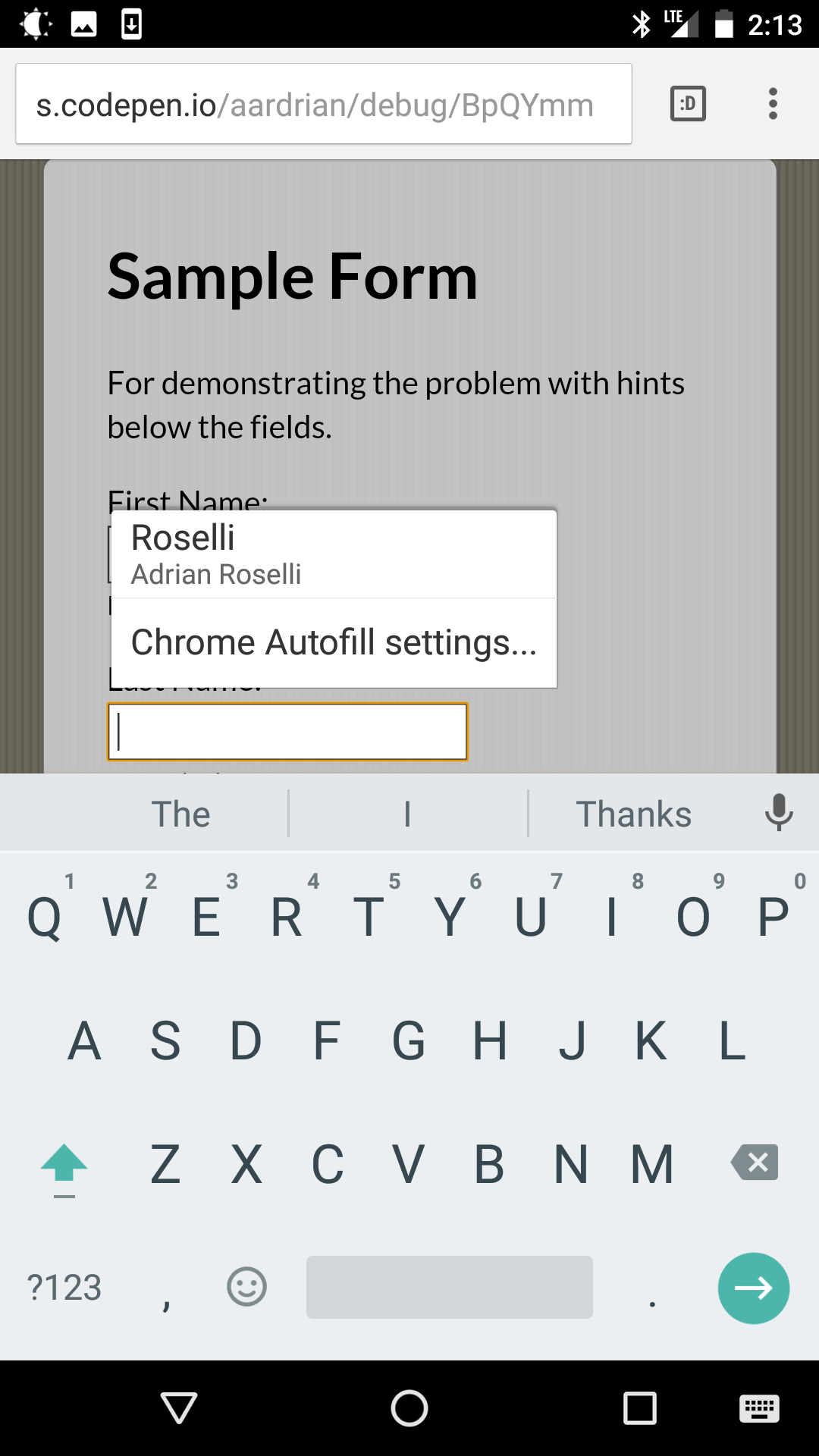 Screen shot from Chrome on Android showing the on-screen keyboard hiding the text below the field.