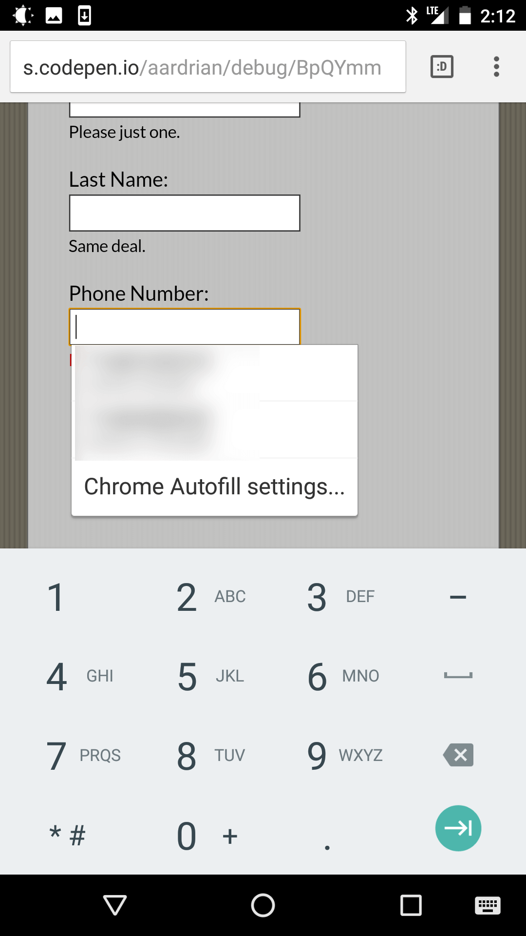Screen shot from Chrome on Android showing auto-complete on the third field.