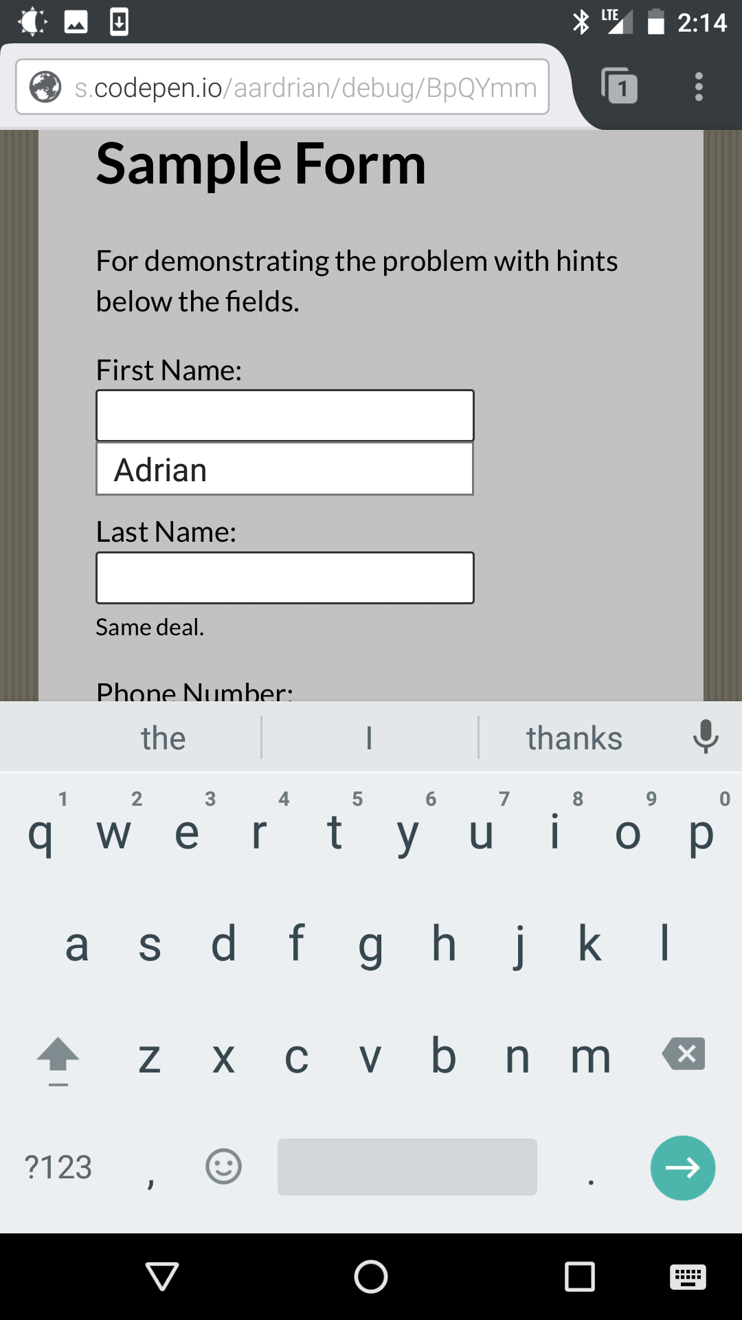 Screen shot from Firefox Mobile showing auto-complete on the first field.