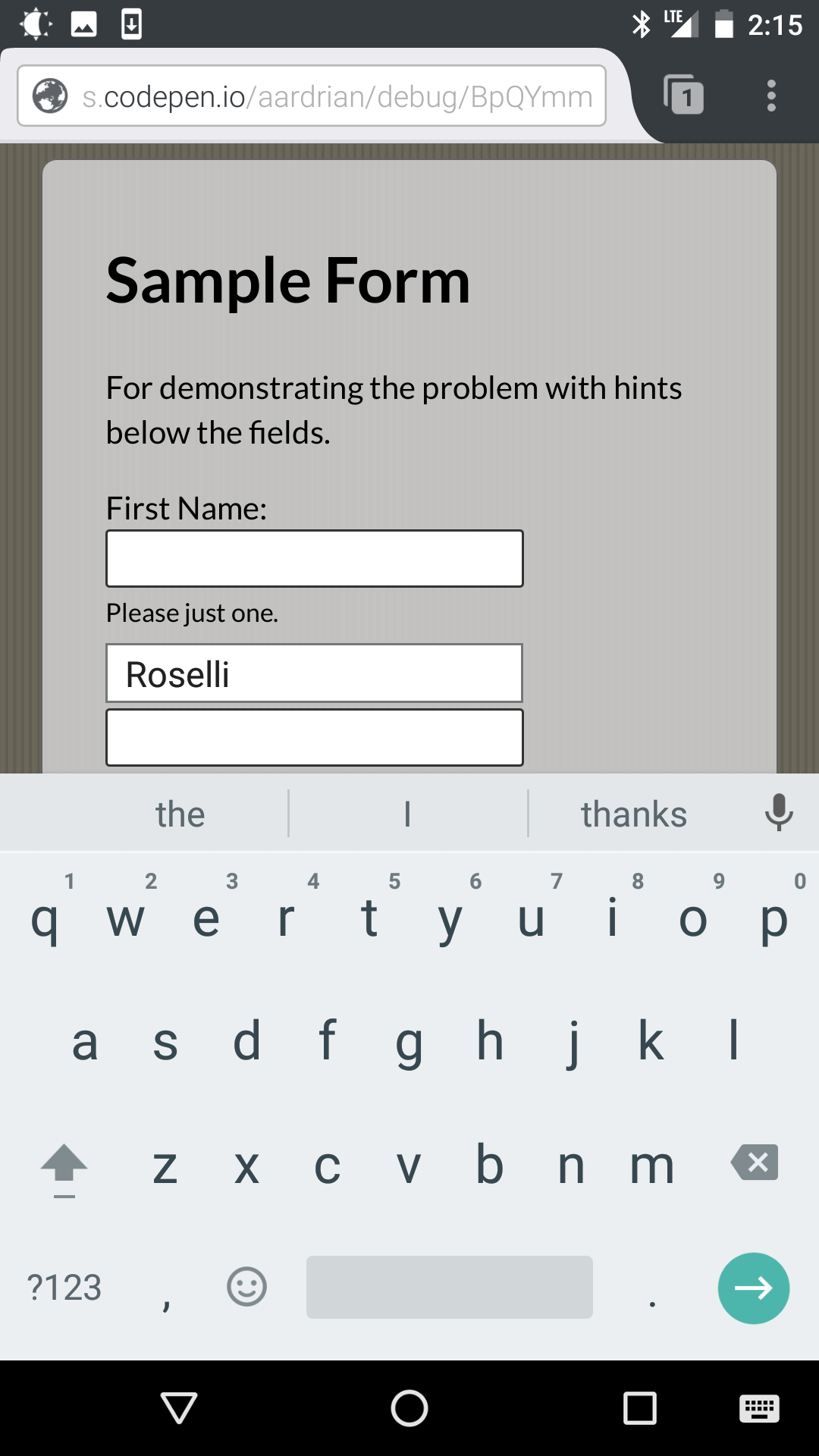 Screen shot from Firefox on Android showing the on-screen keyboard hiding the text below the field.