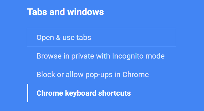 Screen shot of a link with the blue Chrome focus ring on the blue background of the Chrome help page.