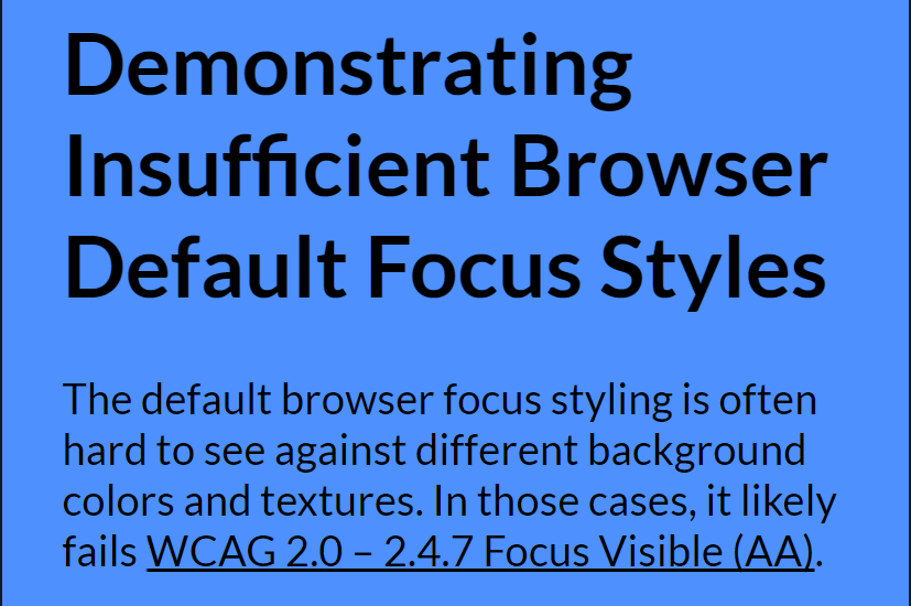 The default focus ring in Chrome on a link against a colored background.