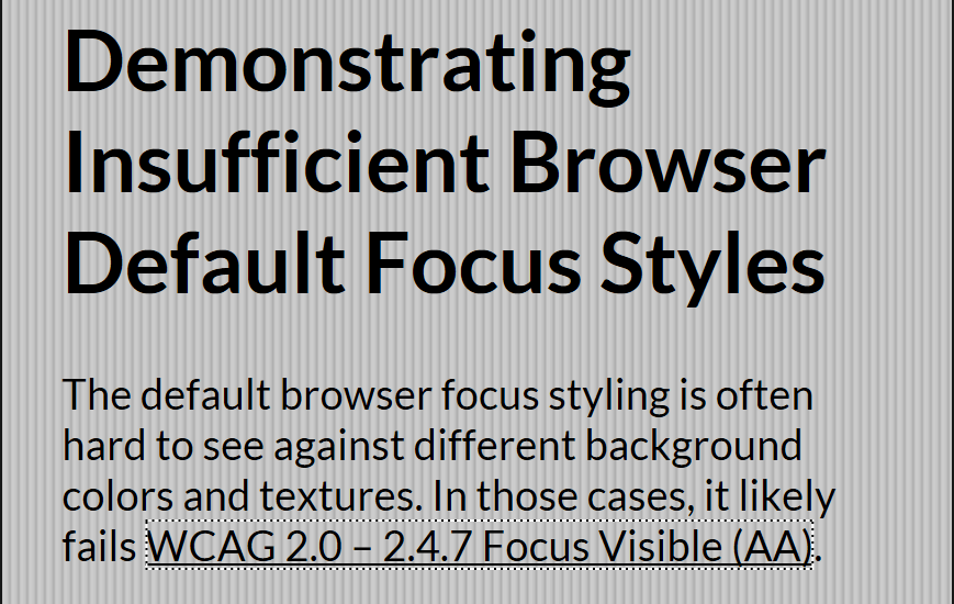 The default focus ring in Edge on a link against a textured background.