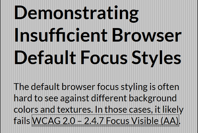The default focus ring in Firefox on a link against a textured background.